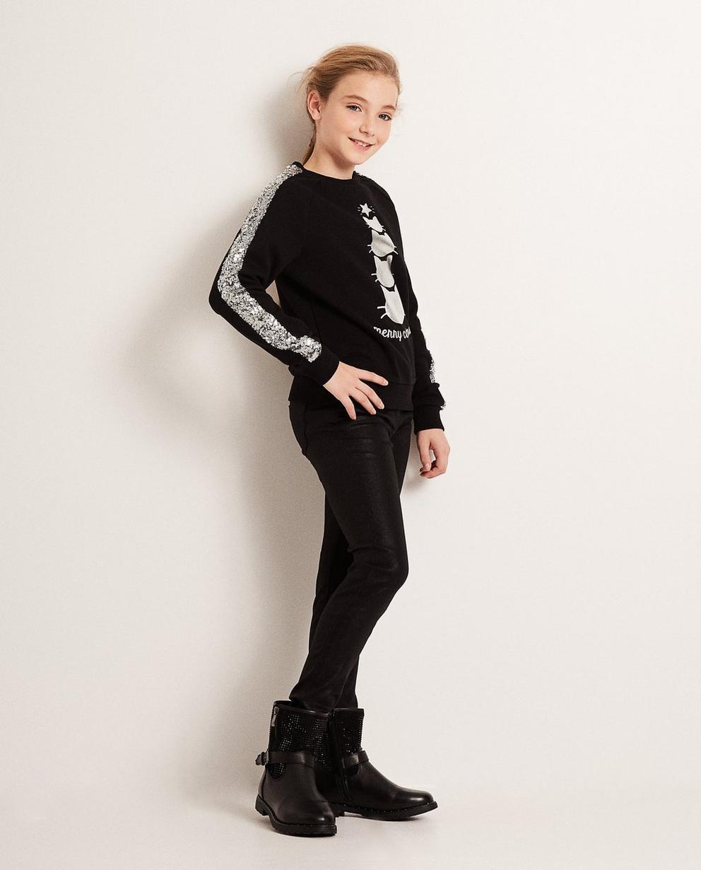 Schwarzer Sweater - mit Pailletten und Aufschrift - JBC